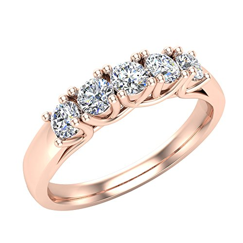 14K Rose Gold Five-Stone Wedding Band Classic Trellis Setting Diamond Ring 0.75 ct tw (Ring Size 6) Rose Gold 5 Stone