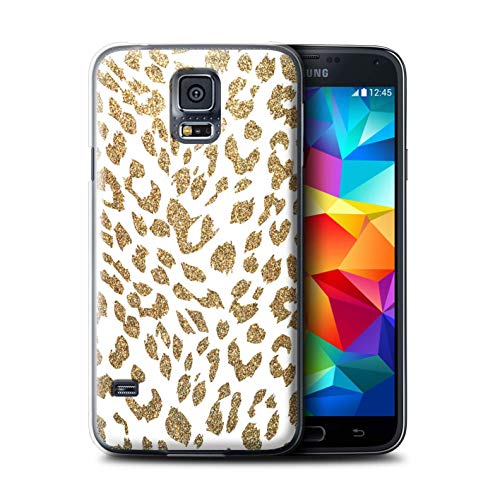 eSwish Phone Case/Cover for Samsung Galaxy S5/SV/Gold Glitter Leopard Design/Fashion Animal Print Pattern Collection