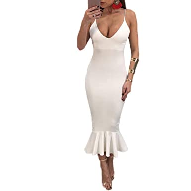 Minisoya Women Sleeveless Sundress Deep V Dress Ladies Backless Bodycon Evening Party Mermaid Maxi Dress (