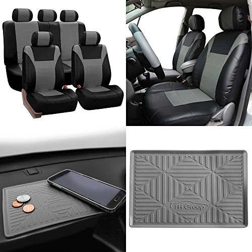 Cover Carlo Dash Mat Monte - FH Group SUMMER SALE PU003115 Racing PU Leather Car Full Set Seat Covers, Airbag & Split Ready, Gray/Black Color w. FH3011 Silicone Anti-slip Dash Mat - Fit Most Car, Truck, Suv, or Van