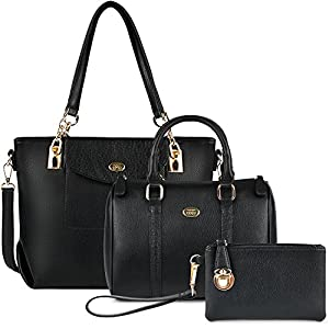 Ladies Handbags,COOFIT Black Handbag PU Leather Shoulder Bag Large Tote Bag Handles Bag for Women Handbag Set 3Pcs…