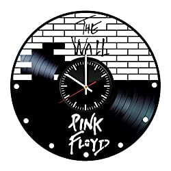 Pink Floyd Vinyl Records Wall Clock - The Wall Music Band Original Present for Music Fans - Wall Art Room Decor Handmade Decoration Vintage Modern Style (Black&White)