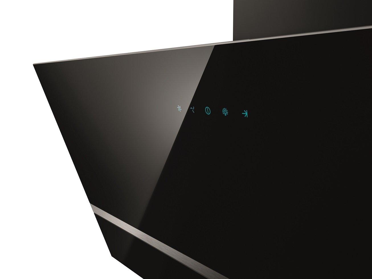 Respekta design schräghaube dunstabzugshaube kopffrei glas 90 cm