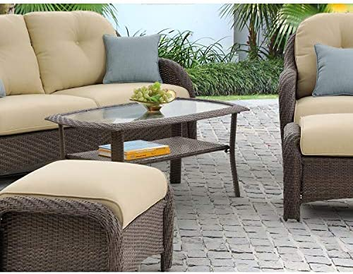 Hanover NEWPORT1PC-TBL Tempered Glass Tabletop Newport 25-in. x 41-in. Woven Patio Coffee Table