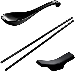 12 Pieces Wonton Black Set, Not Overpriced! Includes: 4 Spoon, 4 Chopsticks, and 4 Chopstick Rest. By Vallenwood. Melamine Made. Perfect For Asian Food, Ramen, Currys, Sushi, Miso, Rice, Pho Soups