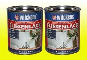Wilckens - Latas de pintura para azulejos (2 unidades, 750 ml), color blanco