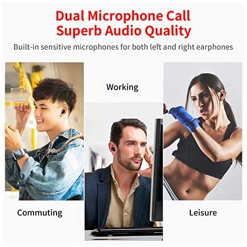 ? 2019 Nuova chiusura a scorrimento ? Delinuo cuffie bluetooth in ear auricolari senza fili, cuffie earbuds Sport Bluetooth 5.0 Headset con batteria 6000 mAh/IPX6/microfono/display digitale.