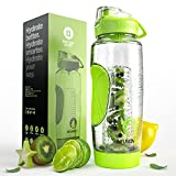 #9: Infusion Pro 32 oz Fruit Infuser Water Bottle With Insulated Sleeve & Fruit Infused Water eBook : Bottom Loading, Large Cage for More Infusing Flavor : Delicious, Healthy Way to Up Your Water Intake