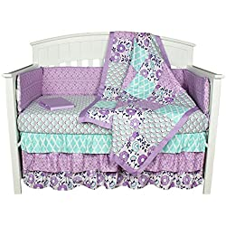 Purple Crib Bedding, Zoe 8-In-1 Baby Bedding Set for girls by The Peanut Shell