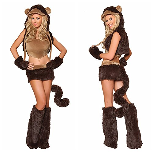 Costume Monkey Make Tail (Naughty Monkey Animal Halloween Costume Sexy Stage Dancewear Hooded Suit)