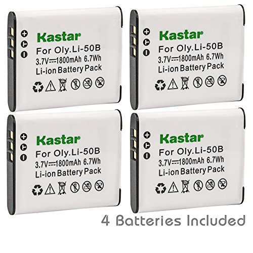 (Kastar Battery (4-Pack) for Olympus LI-50B, LI-50C, Pentax D-LI92, DLI92, Panasonic VW-VBX090 and Olympus Stylus,Tough Series, Pentax Optio Series, Panasonic HX-WA03 WA2 WA20 WA3 WA301 Camera)