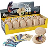 Dino Egg Dig Kit - Break Open 12 Unique Dinosaur Eggs and Discover 12 Cute Dino Models - Archaeology Science STEM Gift