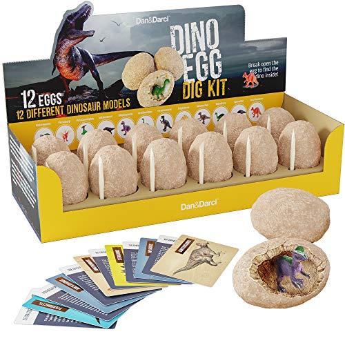 Dino Egg Dig Kit - Break Open 12 Unique Dinosaur Eggs and Discover 12 Cute Dino Models - Archaeology Science STEM -