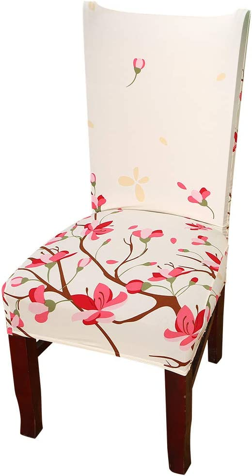 Nordmiex Spendex Dining Chair Slipcovers - 1 Piece Removable Dining Chair Covers Wrinkle and Stain Resistant Chair Protector Fitted Stretch Cushion Covers for Dining Room,-Peach Blossom