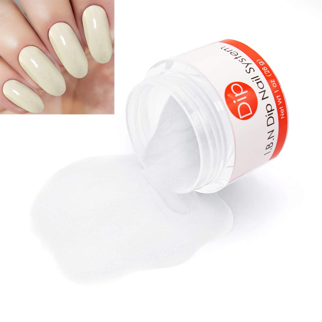 Ivory-White Dipping Powder (Added Vitamins) I.B.N Nail Dip Acrylic Powder DIY Manicure Salon Home Use, 1 Ounce (DIP 035)