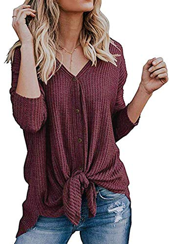 Chuhee Women's S-3XL Short Sleeve Button Down Blouse Shirt Tie Knot Thermal Tops Rust Red L ()