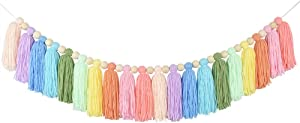 DrCor Pastel Tassel Garland with Wood Bead Colorful Rainbow Garland for Nursery Christmas Party Girls Bedroom Room Birthday Decor