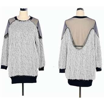 Sexy Lady Backless Long Sleeve Shirt Blouse Soft Fur Transparant Grenadine Tops