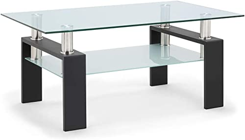 Glass Coffee Table Rectangle Modern Clear Coffee Table with Lower Shelf for Home Living Room Furniture,Black