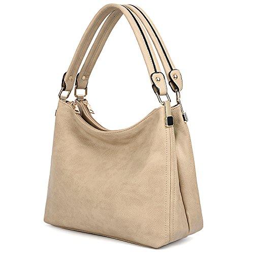 UTO Women Handbags Hobo Shoulder Bags Tote PU Leather Handbag Fashion Large Capacity Top Handle Bag Khaki by UTO