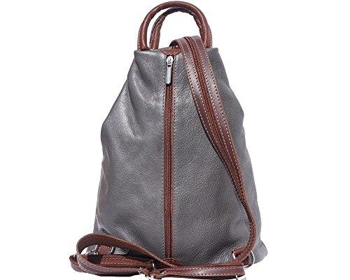 Bolso de cuero suave con cremallera convertible en mochila y bandolera, diseño italiano Dark Grey with Brown