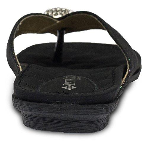 Patrizia Edita Women's Thong Sandal Black dxXwqBw5a
