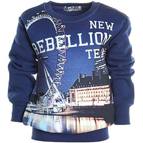 Kinder Pullover Rundhalspullover Hoodie Sweat Jacke Langarm Shirt Winter 20567, Farbe:Navy;Größe:140