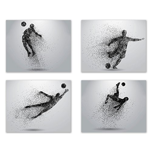 Soccer Wall Art Prints - Particle Silhouette – Set of 4 (8x10) Poster Photos - Man Cave- Bedroom - Pitch Black Picture