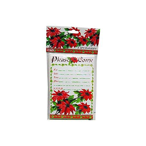 Kole Imports Poinsettia Invitations & Envelopes -