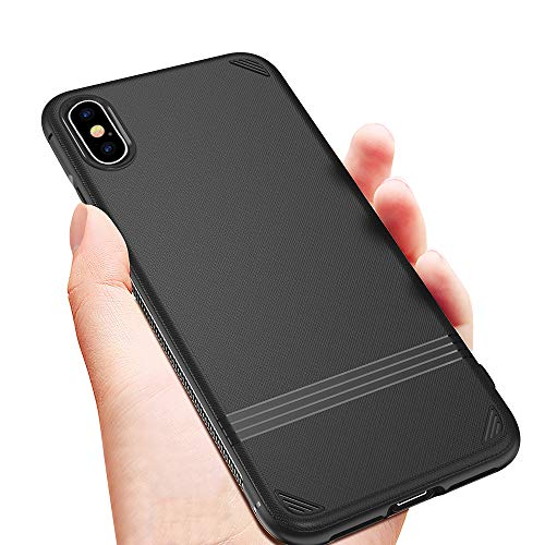 Case for iPhone Xs Max 6.5 inch, Flexible Soft TPU Rubber Slim Case Drop Protection for iPhone Xs Max (Black)