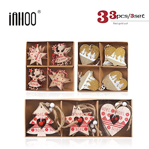 VietHandmade Pendant & Drop Ornaments - inhoo Wooden Christmas Decorations for Home Pendant Ornament Snowflake Pentagram Wedding Xmas Party Decor Gifts Accessories 2019 1 PCs
