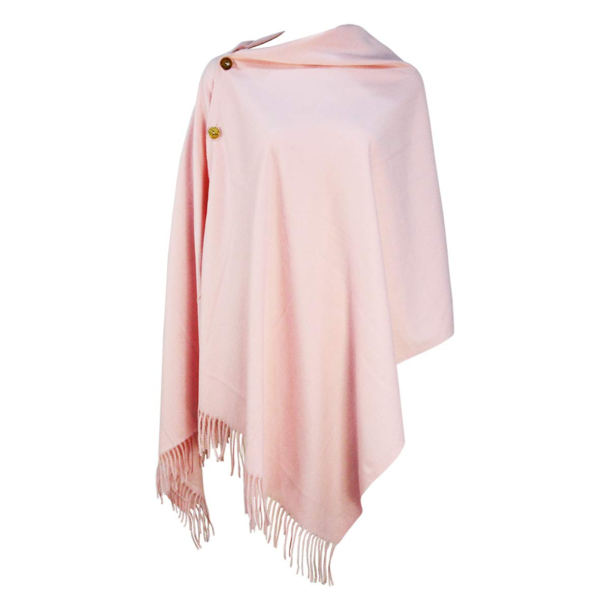Homelex Winter Solid Color Warm Wool Scarf Blanket Button Shawl For Women's (Pink)