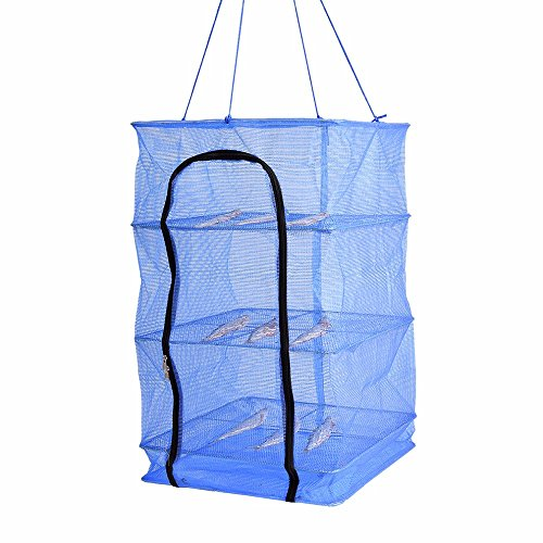 Finlon Drying Rack Folding Fish Mesh 4 Layers Fish Net Blue (Dry Net)
