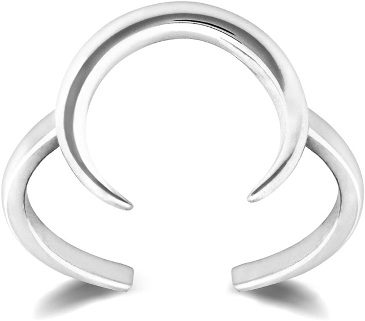 HarperCrown Crescent Moon Ring - 925 Sterling Silver - Adjustable