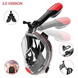 #10: AQUAEGIS Full Face Snorkel Mask - Patent Nose Equalizer & Foldable Tube Easy Breath - Integrated Snorkeling Mask Anti-Fog Anti-Leak 180° View - Ideal for Youth & Adult Swimming Diving and Scuba