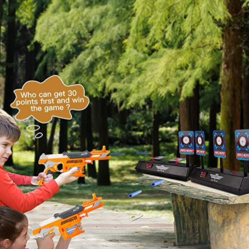 Ling Yun Zhi MASCARRY Electric Scoring Auto Reset Shooting Digital Target for Nerf Guns Blaster Elite/Mega/Rival Series with 40 Pcs Refill Darts and 2 Hand Wrist Bands…