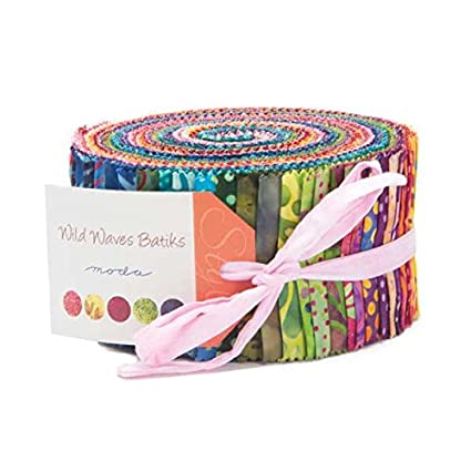"Wild Waves Batik Jelly Roll 2.5"" Precut Cotton Fabric Quilting Strips Assortment #4341JR"