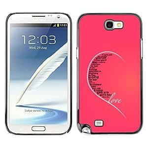 QCASE / Samsung Note 2 N7100 / amor oído cotización corazón rosa verdadera incondicional / Delgado Negro Plástico caso cubierta Shell Armor Funda Case Cover