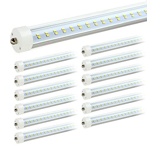 - JESLED 8ft LED Light Bulbs - Single Pin Fa8 Base, T8 T10 T12 8 ft LED Tube, 50w, 5000k Daylight, 6000lm (100-130w Equivalent), 96