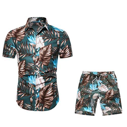 Fubotevic Men's Shorts Casual Vogue 2 Piece Suit Outfits Hawaiian Button Down Blouse Shirt 1 S