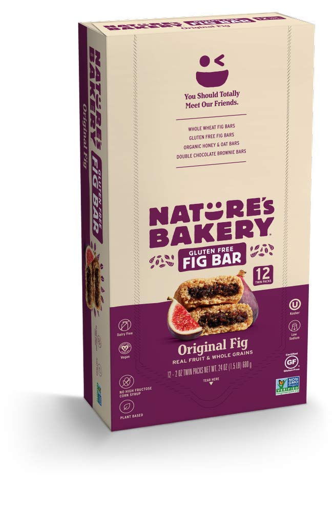 Nature's Bakery Gluten Free Fig Bars, Original Fig,  1- 12 Count Box of 2 oz Twin Packs (12 Packs), Vegan Snacks, Non-GMO by Nature's Bakery
