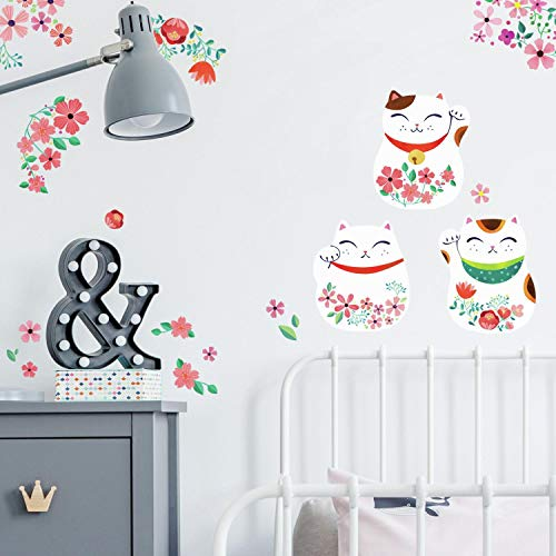 Cats Peel - RoomMates Lucky Cat Peel And Stick Wall Decals