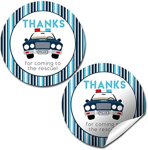 AmandaCreation - Etiquetas adhesivas de agradecimiento para coche de policía, 40 pegatinas de 5 cm, ideales para regalos de fiesta, sellos de sobres y bolsas de dulces: Amazon.es: Juguetes y juegos