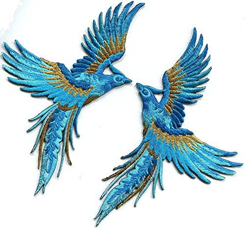 Phoenix phenix birds sky blue sapphire gold embroidered appliques iron-on patches pair Each patch measures 3.75 inches wide (measured from the widest point) by 6.25 inches - Phenix Sky
