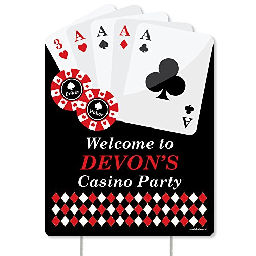 Big Dot of Happiness Custom Las Vegas - Party Decorations - Casino Party Personalized Welcome Yard Sign