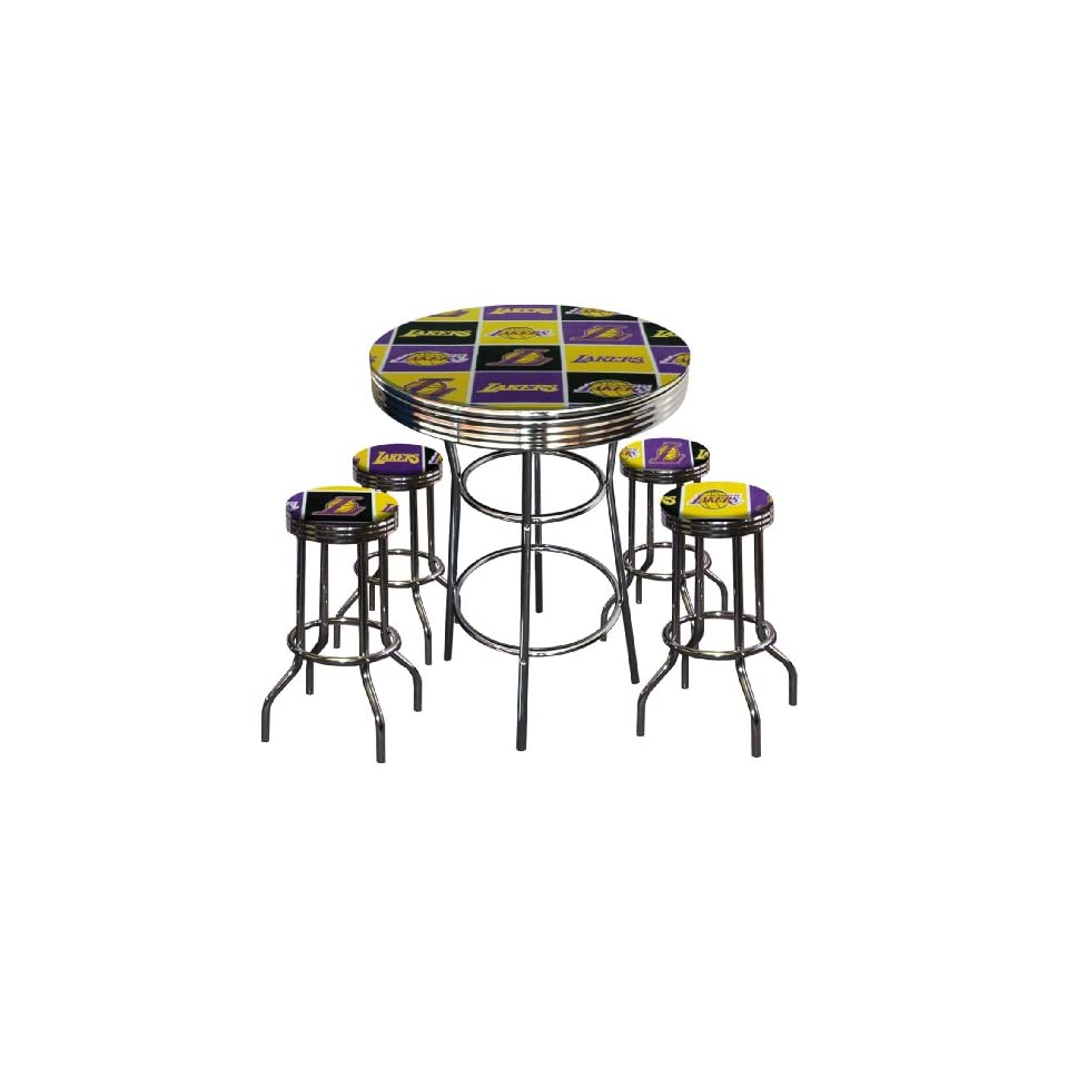Los Angeles Lakers Basketball Glass Top Chrome Bar Pub Table Set With 4 Swivel Bar Stools
