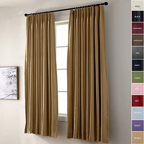 IYUEGO Pinch Pleat Solid Thermal Insulated 95% Blackout Patio Door Curtain Panel Drape for Traverse Rod and Track, Wheat 52W x 102L Inch (Set of 1 - Wheat Curtain Bamboo