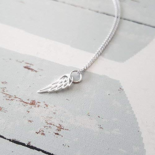 Sterling Silver Tiny Angel Bird Wing Charm Necklace 16