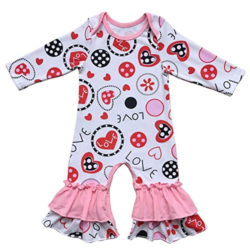 5eef0505373 Amazon.com  FYMNSI Baby Girls Icing Ruffle Romper Jumpsuit Bodysuit Long  Sleeve Pajamas Valentine Love Easter Egg Outfits  Clothing