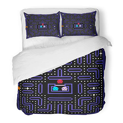 Emvency Decor Duvet Cover Set Full/Queen Size Geek 8 Bit Pixel Retro Arcade Game Old Video Design 80S Classic Robot Monster 3 Piece Brushed Microfiber Fabric Print Bedding Set Cover]()